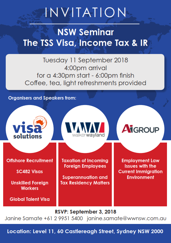 NSW Seminar – The TSS Visa, Income Tax & IR – Walker Wayland